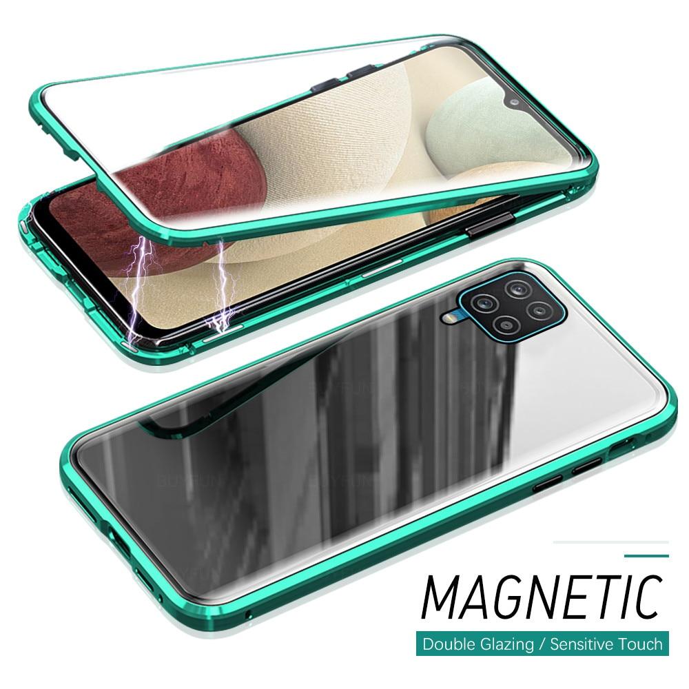 Чехол-книжка с магнитной застежкой на 360 ° для Samsung Galaxy A12 12A A 12, двухсторонний чехол из закаленного стекла, защитный чехол с защитой от падени...