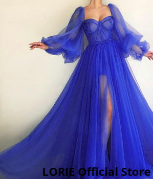 LORIE 2019 Long Puffy Sleeve Blue Prom Dresses Tulle Backless Lacing Evening Gowns Evening Party Gown Robe De Soiree Plus Size 5