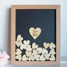 Персонализированная свадебная рамка-книга посетителей 3D пользовательские baby shower wishes box альтернатива drop top box с деревянными сердечками свадебный душ
