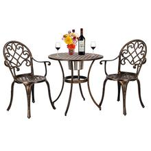 European Style Cast Aluminum Outdoor 3 Piece Beautiful Patio Bistro Set of Table and Chairs garden furniture outdoor chair set cheap Garden Set Outdoor Furniture