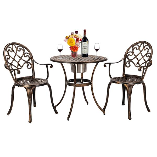 European Style Cast Aluminum Outdoor 3 Piece  Beautiful Patio Bistro Set Of Table And Chairs Garden Furniture,outdoor Chair Set.
