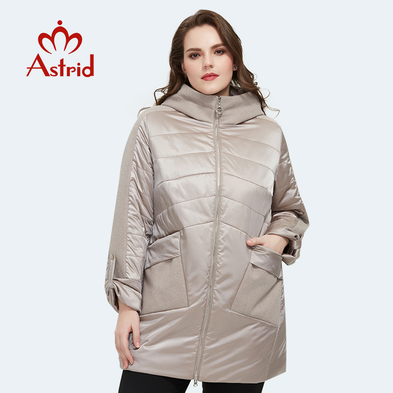 Astrid 2020 Spring new arrival women jacket loose clothing outerwear high quality plus size mid-length fashion coat AM-8612(China)