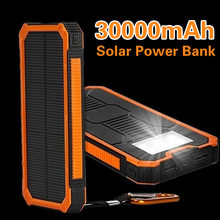 30000mAh Solar Power Bank Huge Capacity Solar Power Bank Dual-USB Waterproof Battery Charger For All Phone Iphone Huawei Xiaomi(China)