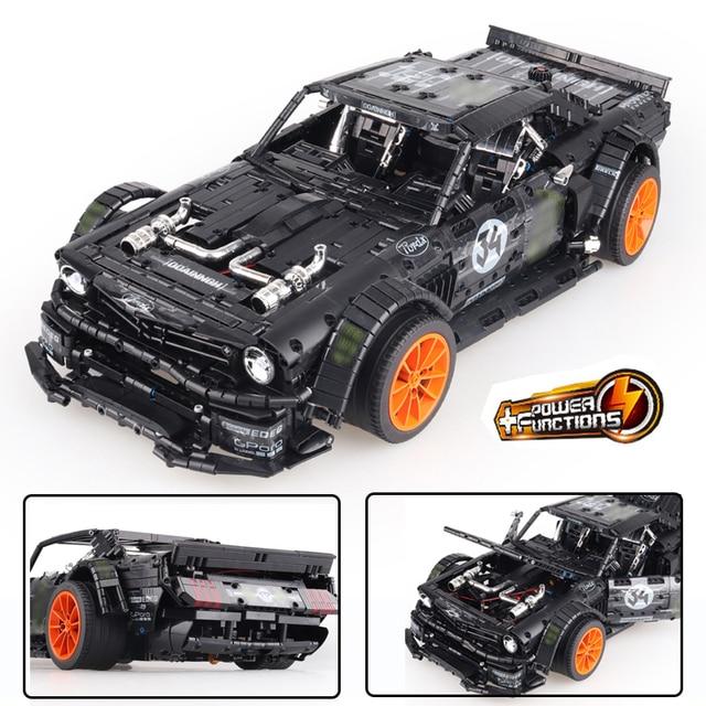 23009 Ford Mustang Hoonicorn RTR V2 Racing Car with power function led light Technic 20102 MOC-22970  building block bricks Kids