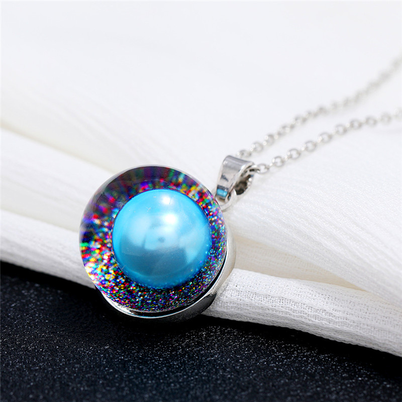 Charm Female Male Blue Pendant Necklace Silver Color Chain Necklaces For Women Men Luxury Round Rainbow Resin Necklace