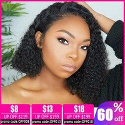 Perruque brésilienne frisée et bouclée, coupe pixie, cheveux naturels, coupe courte bob, 13x4, pour femmes africaines