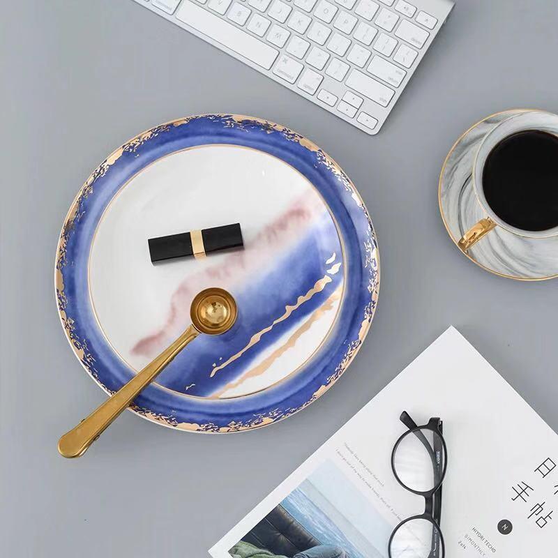 Nouveau or incrustation paysage brouillard assiettes en céramique assiettes Dessert plateau créatif Steak cuisine vaisselle décor à la maison plats assiettes - 4