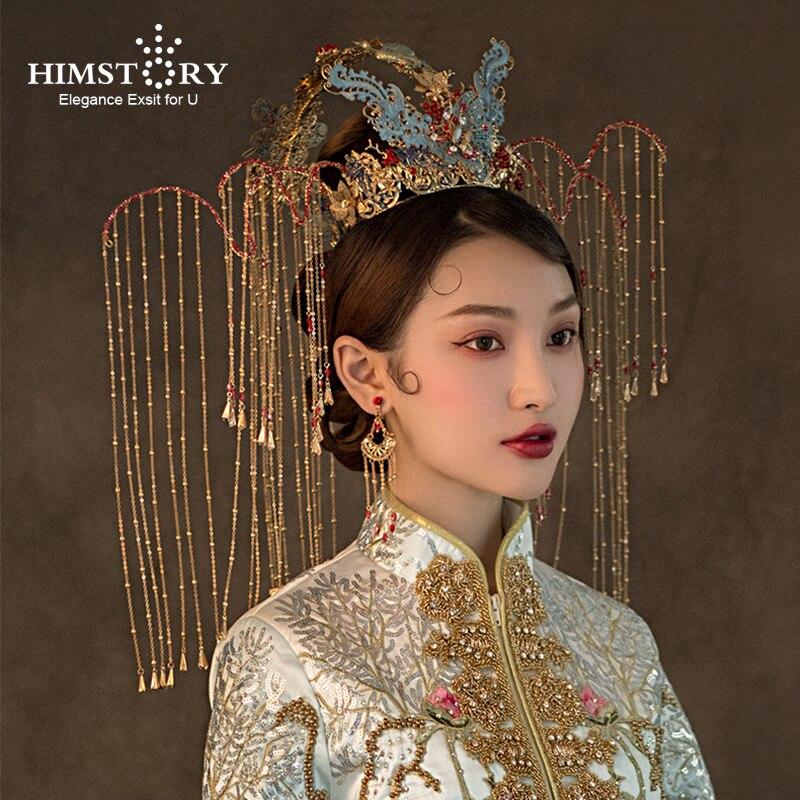 HIMSTORY Hair-Jewelry Wedding-Crown Bride Tassel-Headdress Handmade Vintage Gorgeous