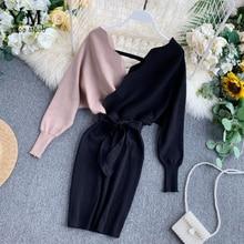 YuooMuoo Элегантное трикотажное платье с v-образным вырезом и поясом женское сексуальное осеннее платье с открытой спиной и длинным рукавом женское обтягивающее платье короткое платье