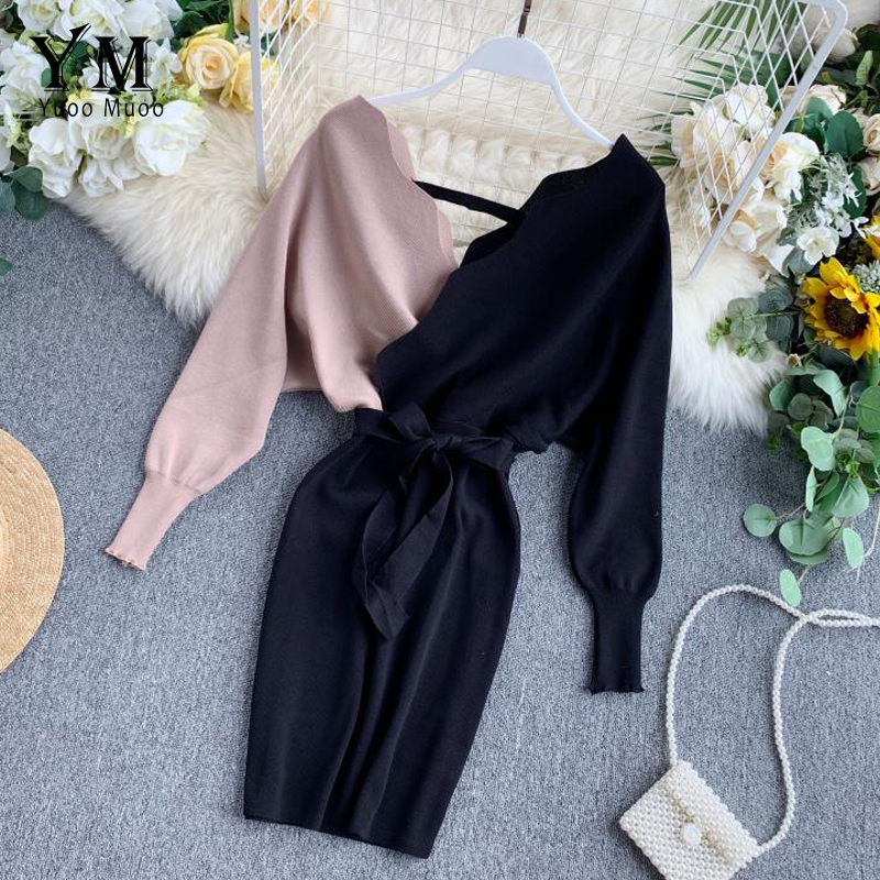 YuooMuoo Elegant Sashes V Neck Knit Dress Women 2019 Sexy Backless Autumn Long Sleeve Sweater Dress Ladies Bodycon Short Dress