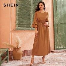 SHEIN Camel Tiered Layer Bell Sleeve Ruffle Trim Elegant Pleated Dress Womens 2019 Autumn High Waist Drawstring Maxi Dresses