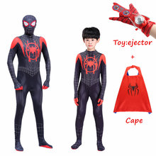 Nieuwe volwassen Kids Spider-Man In de Spider-Vers Miles Morales Cosplay Kostuum Zentai Spiderman Patroon Bodysuit Pak jumpsuits(China)