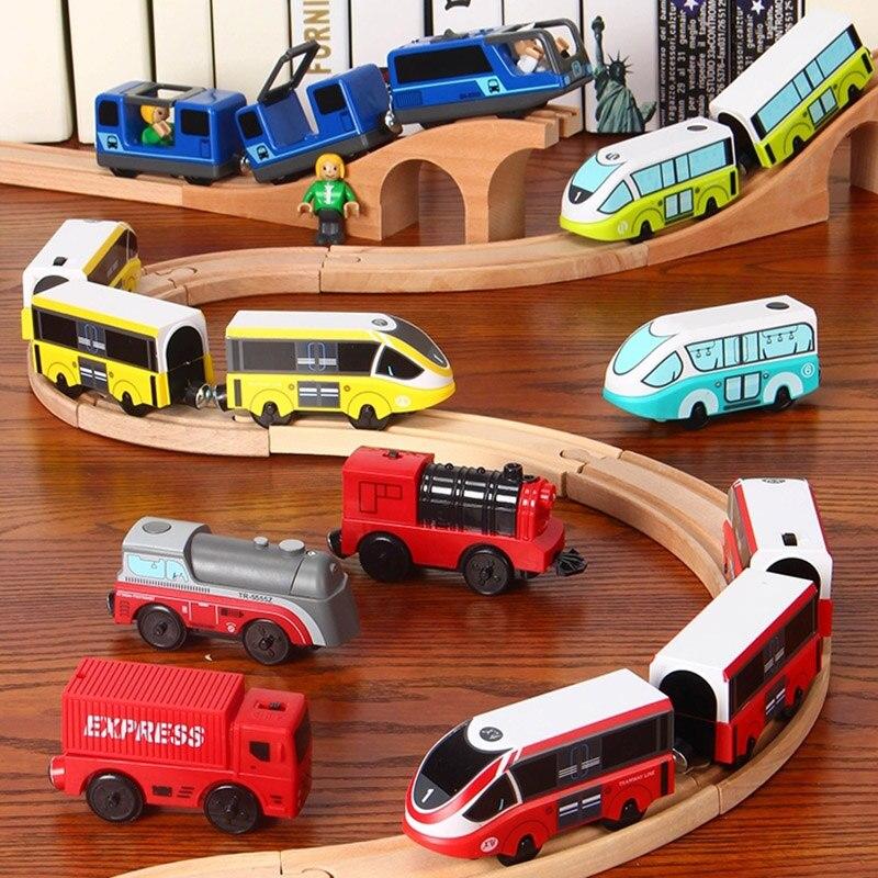 Crianças trem elétrico brinquedos conjunto de trem magnético diecast slot brinquedo caber t-homas trilha de madeira brio trilha de trem de madeira ferroviária