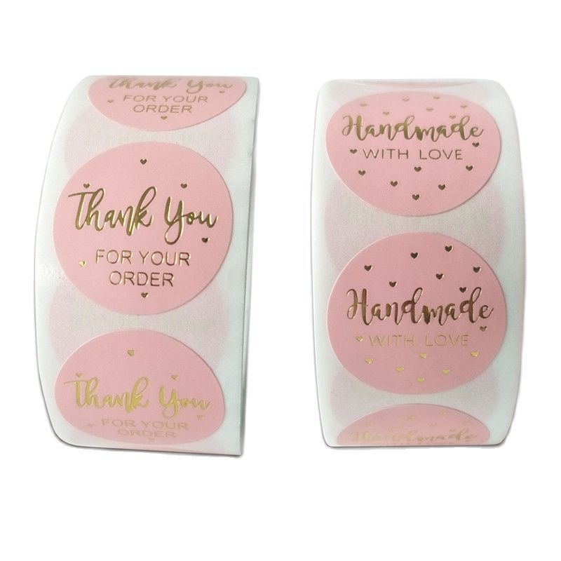 500pcs Gift Sealing Stickers Love handmade thank you washi tape sticker rolls for packging decoration thanks label set