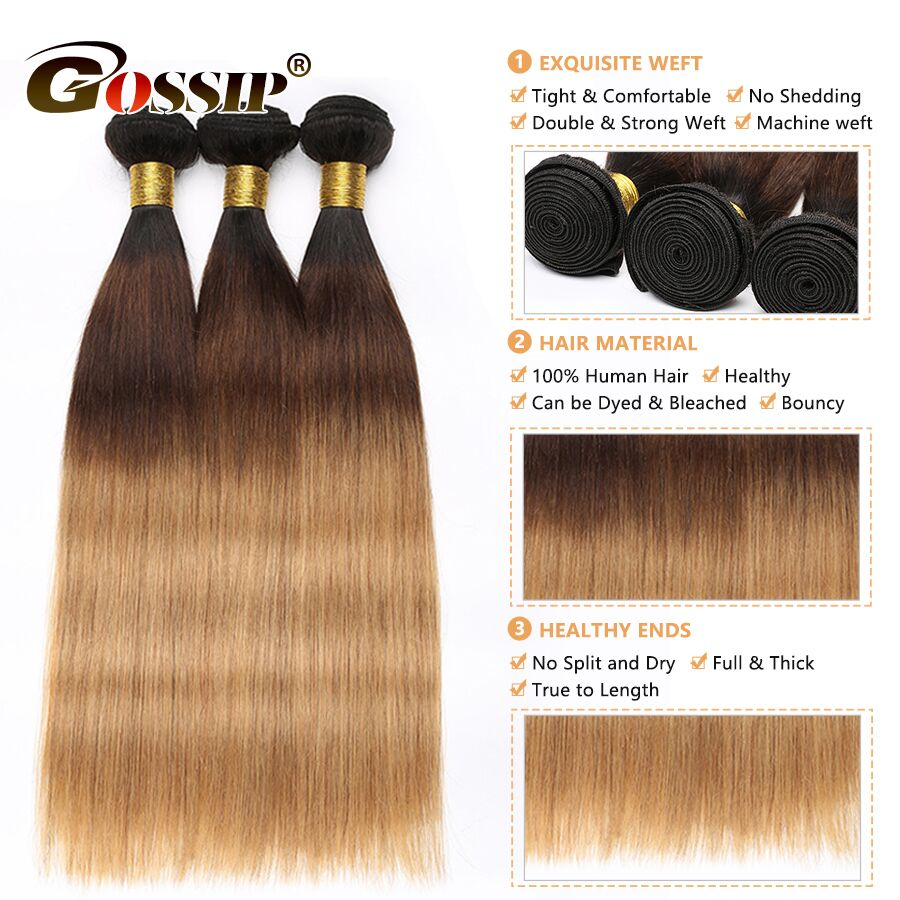 Straight Hair Bundles Brazilian Hair Weave Bundles Non-Remy Honey Blonde Hair Extensions Gossip Colored Ombre Human Hair Bundles (6)