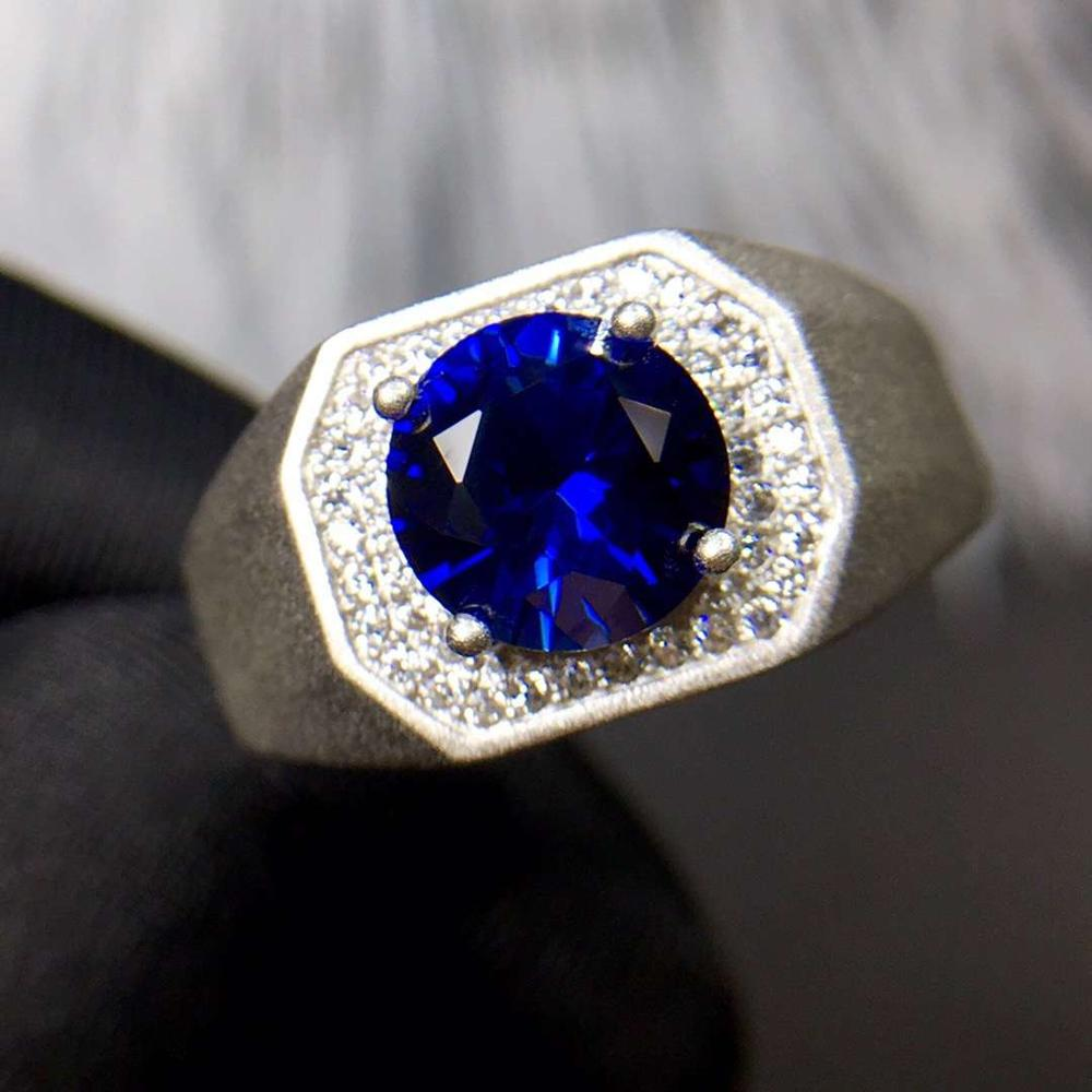 Newest Man Muscular Power Ring Blue Gem Sapphire Ring  Jewelry Gift Size 8 Mm*8 Mm Ocean Blue Color Real 925 Silver Man Gift