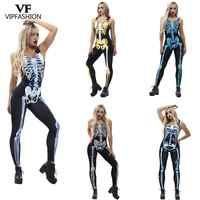 VIP FASHION de Halloween sin mangas 3D para mujer, monos de esqueleto para fiesta