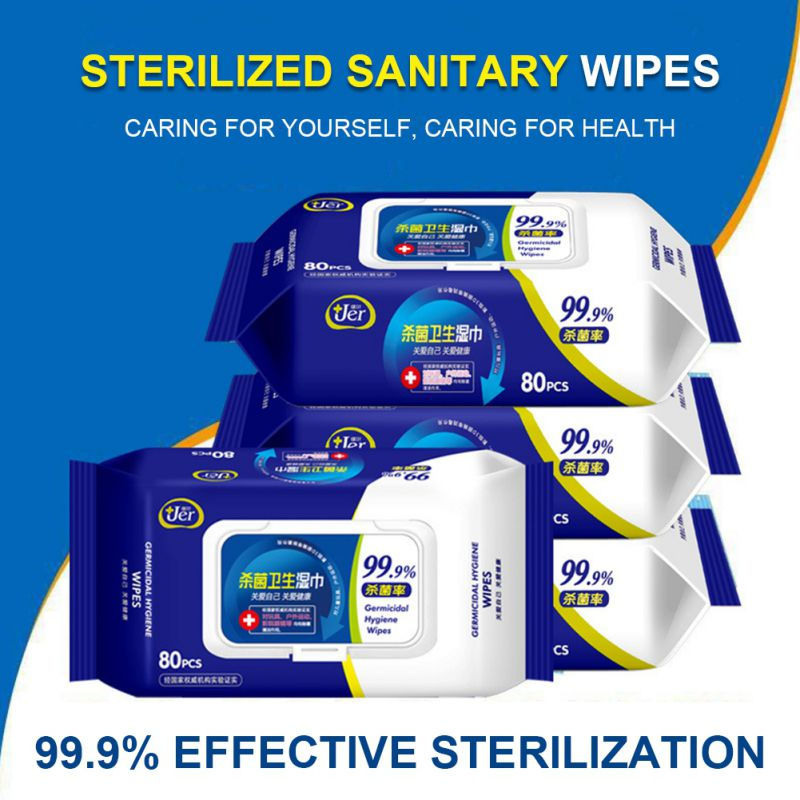 80PCS Portable Alcohol Swabs Pads Wet Wipes 70% Isopropyl First Aid Home Skin Cleanser Sterilization