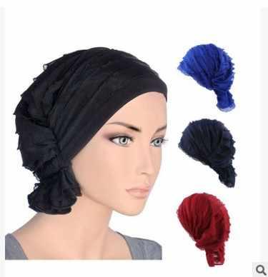 السيدات الأوروبية والأمريكية شعبية أنيق الحجاب القبعات والقبعات مسلم مكدسة ، والشيفون ، وقبعة الكيميائية القابلة للطي hading الكيميائية