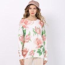 Женский Теплый вязаный свитер белый пуловер с цветочным принтом