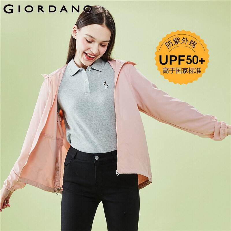 Giordano Women Jackets Anti UV Lightweight SPF50+ Hooded Jackets Interior Pocket Adjustable Hem Summer Casaco Feminino 05370090