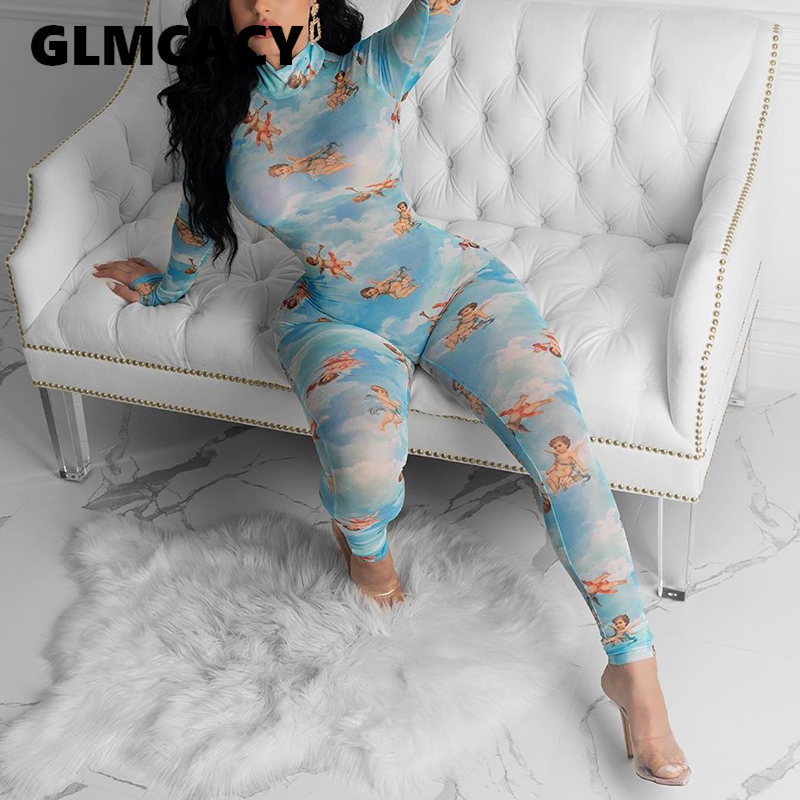 Women Long Sleeve Cartoon Printed Bodycon Jumpsuit Plus Size Sexy & Club Stretch See Through Mesh Jumpsuits