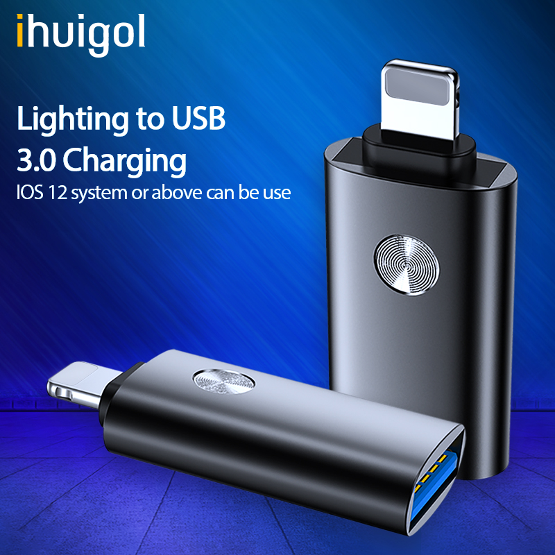 Ihuigol OTG Adapter For IPhone 11 Pro Max X XS XR Lighting To USB Data Sync U Disk Keyboard Camera Converter For IPad IOS 12 13