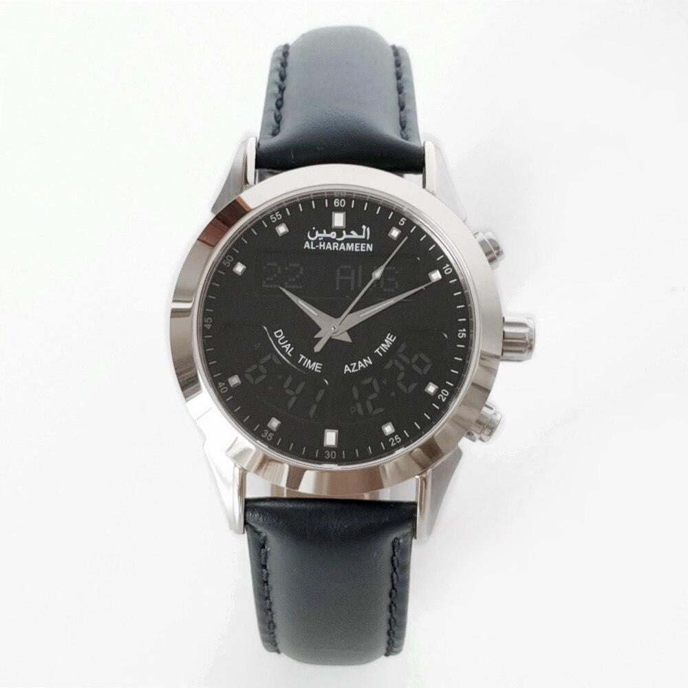 Image 5 - Muslim Watch with Genuine Leather Strap Waterproof Islamic Azan Wristwatch Men ClockDigital Watches