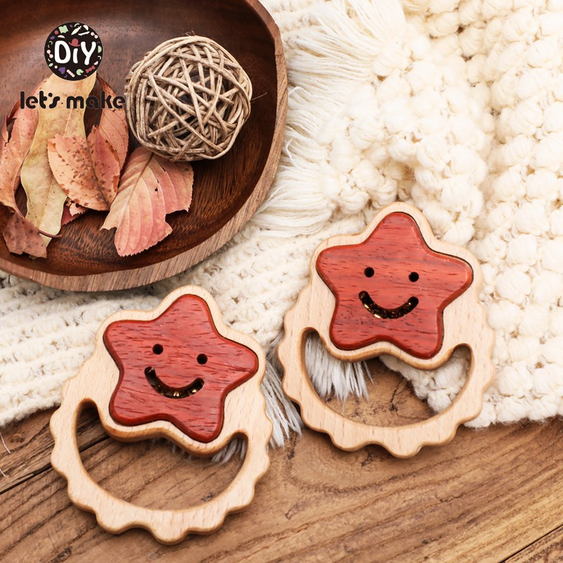 Let's Make Baby Rattles Toys Bell Wooden Ring Hand Montessori Educational Toys Smiley Stars 0-12 Months Wood Rattle Make Noise
