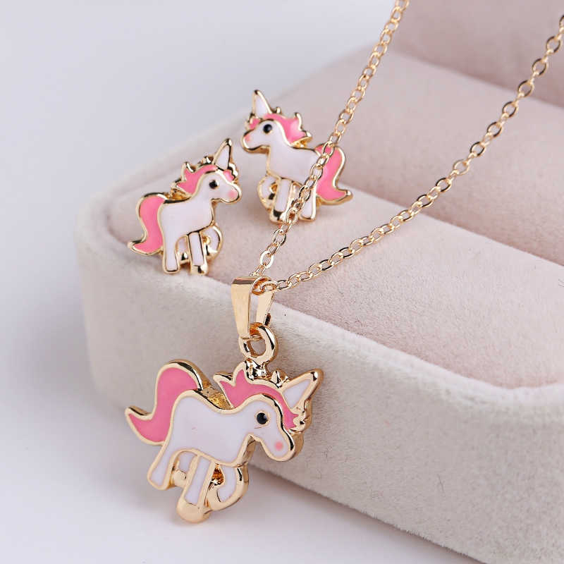 3PCS/Set Pink Horse Unicorn Jewelry Sets Earrings Necklaces  for Women Girl Animal Decorations Kits Gifts Wedding Party