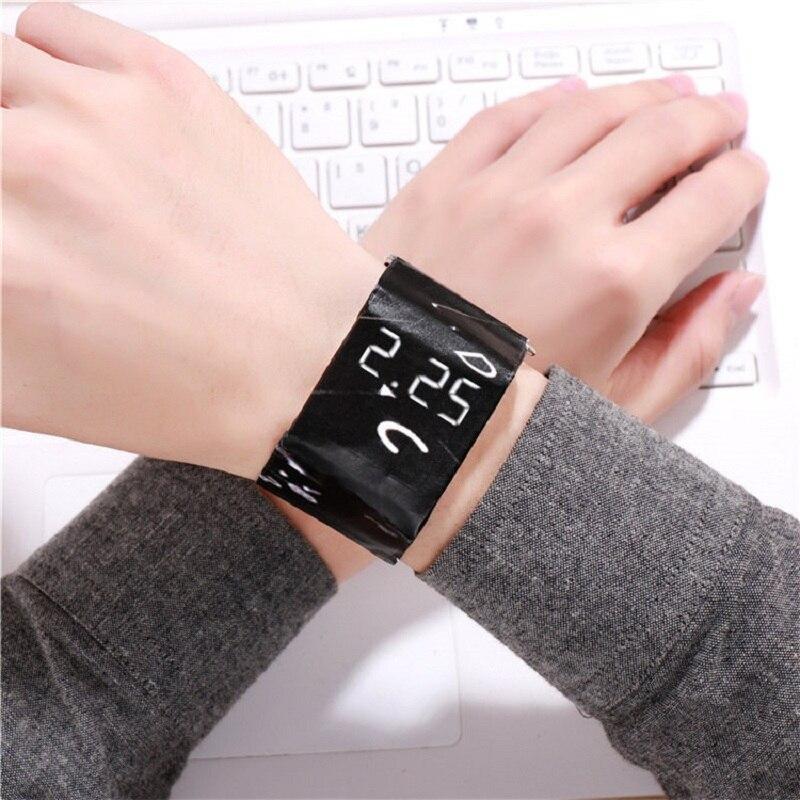 Красивый браслет Бумага Часы светодиодный Часы Цифровые Водонепроницаемый Бумага наручные часы спортивные часы наручные часы