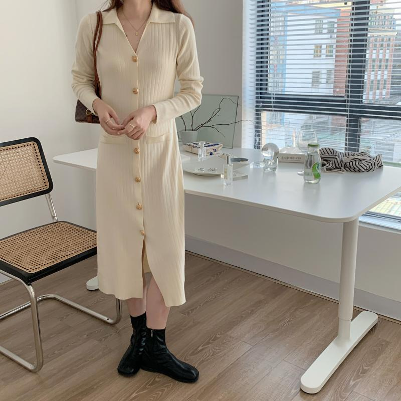 H9fc2472553cf4bdcbb3f130ef0f1dd0bU - Autumn Turn-Down Collar Soft Slim Solid Long Sweater Dress