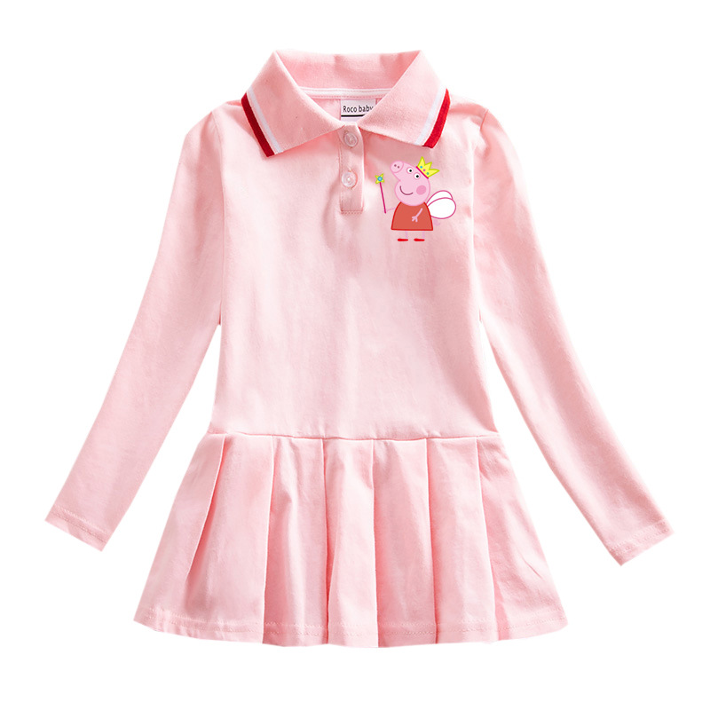 Peppa Pig Children Baby Girl Dress Autumn Winter Long Sleeve Skirts Clothes Cotton Leisure Sport Girl Baby Dresses 1-8 Toys Doll
