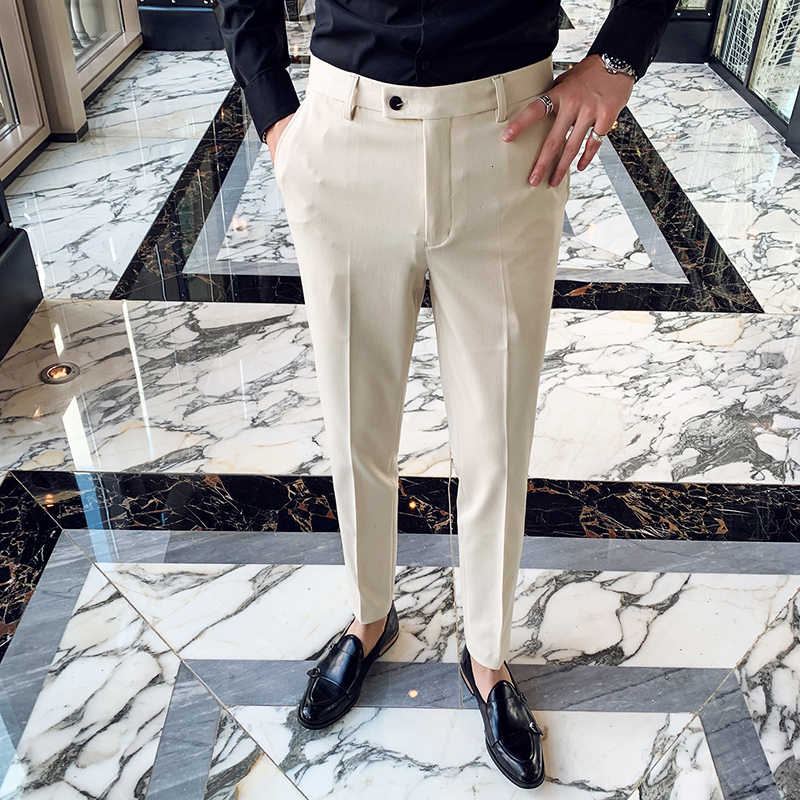 Men S Social Trousers Masculina Suit Trousers Man Formal Pants Winter Men Dress Pants Slim Fit Black White Pantalones Hombre Skinny Pants Aliexpress