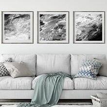 Современная Абстрактная Картина на холсте океана черная белая