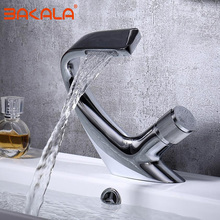 цена на chrome Basin Faucet Solid Brass Oil Rubbed Bronze Waterfall Bathroom Sink Faucet Big Round Spout Mixer Tap Torneira Banheiro