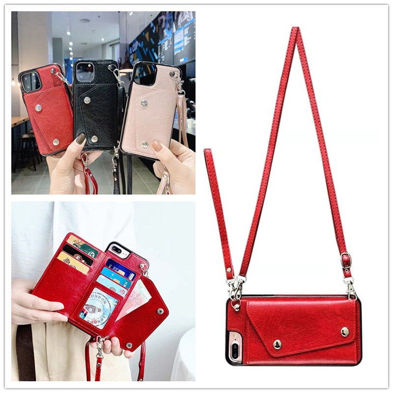 wallet strap case for <font><b>iphone</b></font> 11 Pro Max XR X XS MAX 7 8 6S <font><b>6</b></font> plus case <font><b>cover</b></font> luxury <font><b>leather</b></font> card shoulder lanyard phone bag capa image
