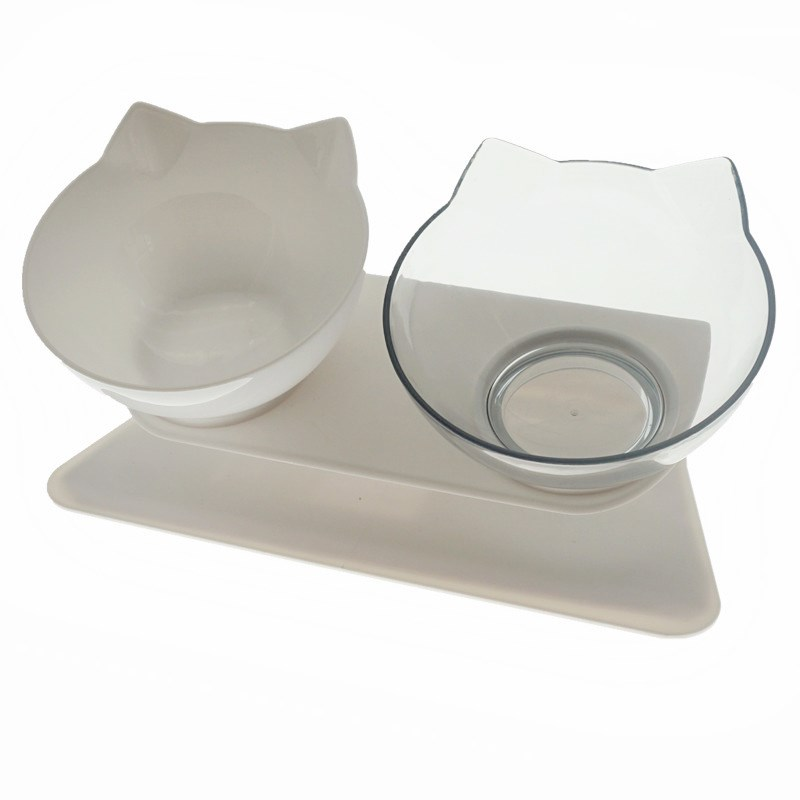 Double Mixed Color-Non-Slip Double Cat Bowl Dog Bowl With Stand Pet Feeding Cat