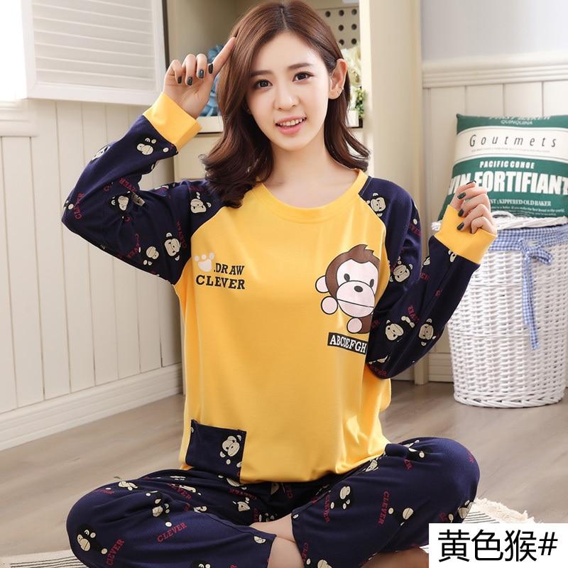 Autumn Winter Long Sleeve Cartoon Cotton Women   Pajama     Set   Monkey Animal Sleepwear Pyjamas Nightwear Home Clothes Plus Size 5XL
