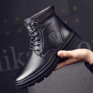 Image 2 - أوسكو جلد أصلي للرجال أحذية برقبة طويلة مقاومة للماء الرجال حذاء كاجوال موضة حذاء من الجلد للرجال عالية أعلى الشتاء الرجال الأحذية