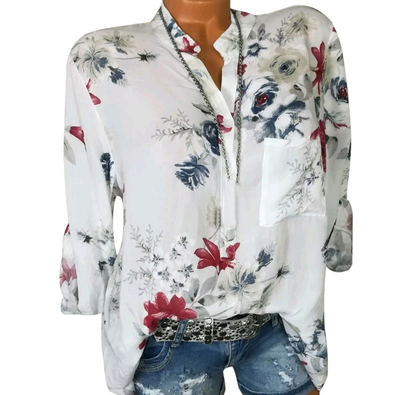 Women Chiffon   Blouse   Summer Tunics Plus Size   Shirts   Long Sleeve Flower Floral Print Saida De Praia 2019 Plus Saze Outfit Tops
