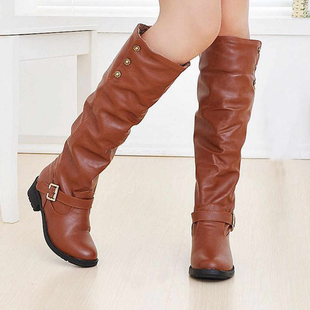 shoes women's boots high heel winter and autumn Women Ladies Retro Low-heeled Shoes Buckle Add Cotton Long Tube Knight Boots
