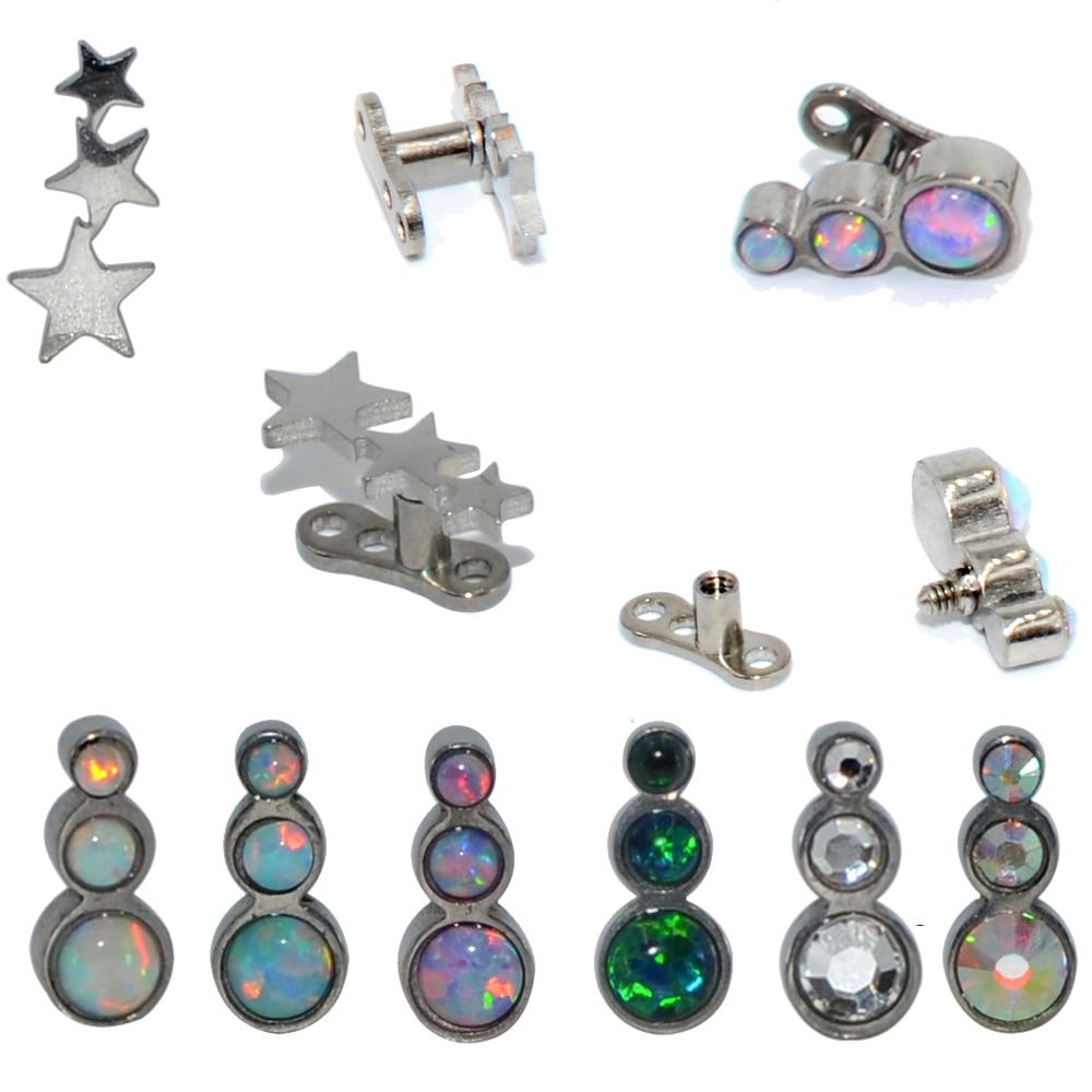 1pc aço/base de titânio micro dermal âncora opal trio estrela cz gem internamente rosqueado dermal âncora pele diver piercing jóias