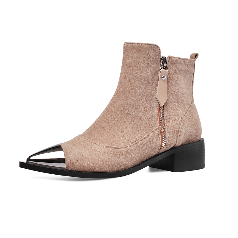 Fashion Shoes 2019 Women Shoes Ankle Boots for Women Cow Suede Pointed Toe Square Heel Western Platform Boots Australian Boots