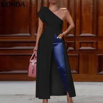 VONDA Long Party Shirts Women Off Shoulder Blouse 2020 Summer Blouse Female Sexy Split Hem Shirts Casual Tunic Plus Size Blusa tassel hem blouse