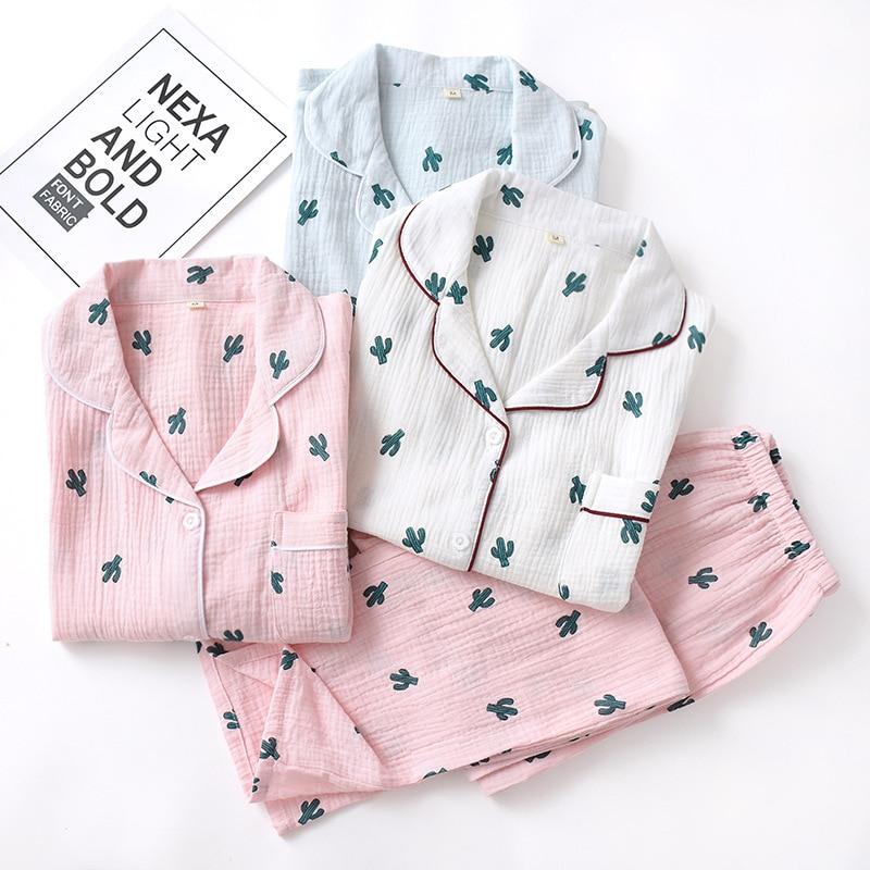 New Crepe Cotton Cactus Printing Pajamas Long Sleeve Trousers Pajama Set Loungewear Women Sleepwear Loose Sleepwear Home Clothes