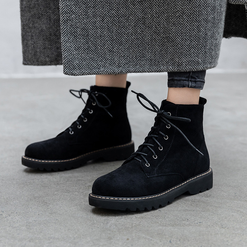 2019 Lace Up Womens Boots Ankle Black Chunky Low Heel Ladies Winter Suede Shoes Plus Size Bootie Gothic Motorcycle Boots