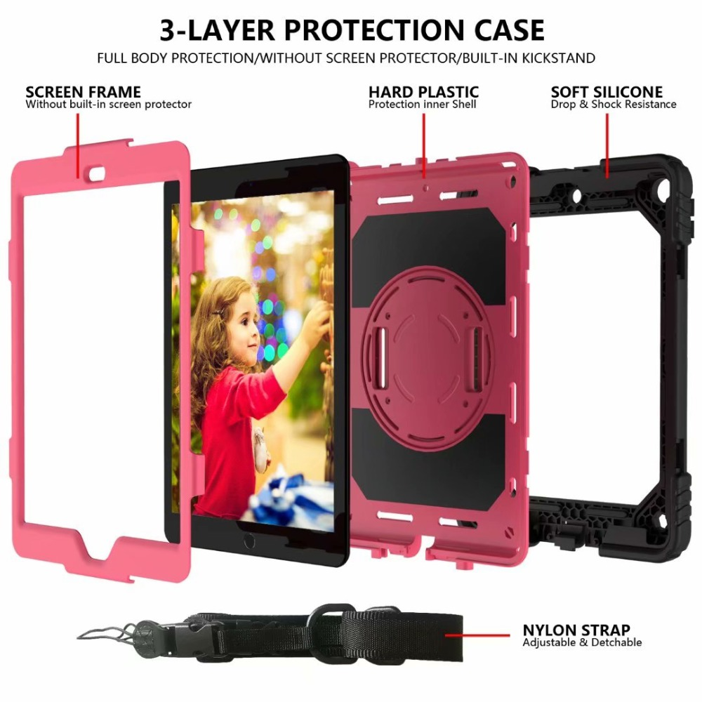 For Cover Stand Strap Hand Rotating Case 360 Holder For 7th iPad iPad Pencil Generation