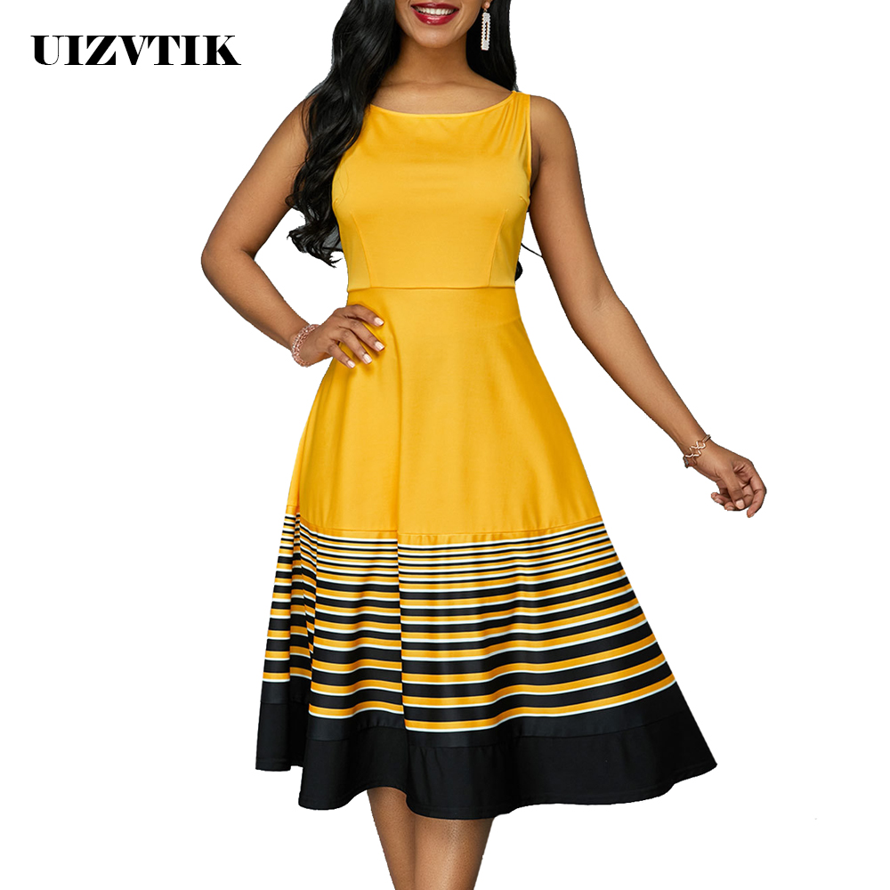 Summer Dress Women 2019 Casual Plus Size Slim Striped Ball Gown Long Party Dresses Vintage Elegant Sexy Sleeveless Dress Yellow