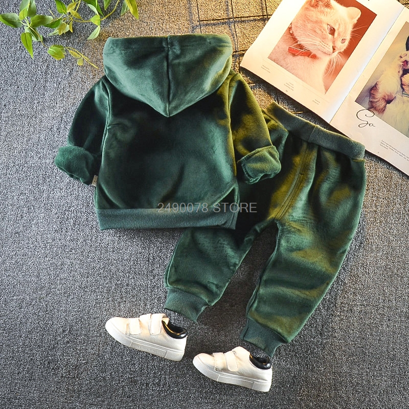 Newborn Baby Boys Girls Winter Warm Plus velvet Hoody Jacket +Pants 2Pcs Clothing Set Kids Children Sports Outdoor Tracksuit 5